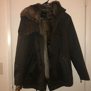 F21 Faux Fur lined utility jacket
